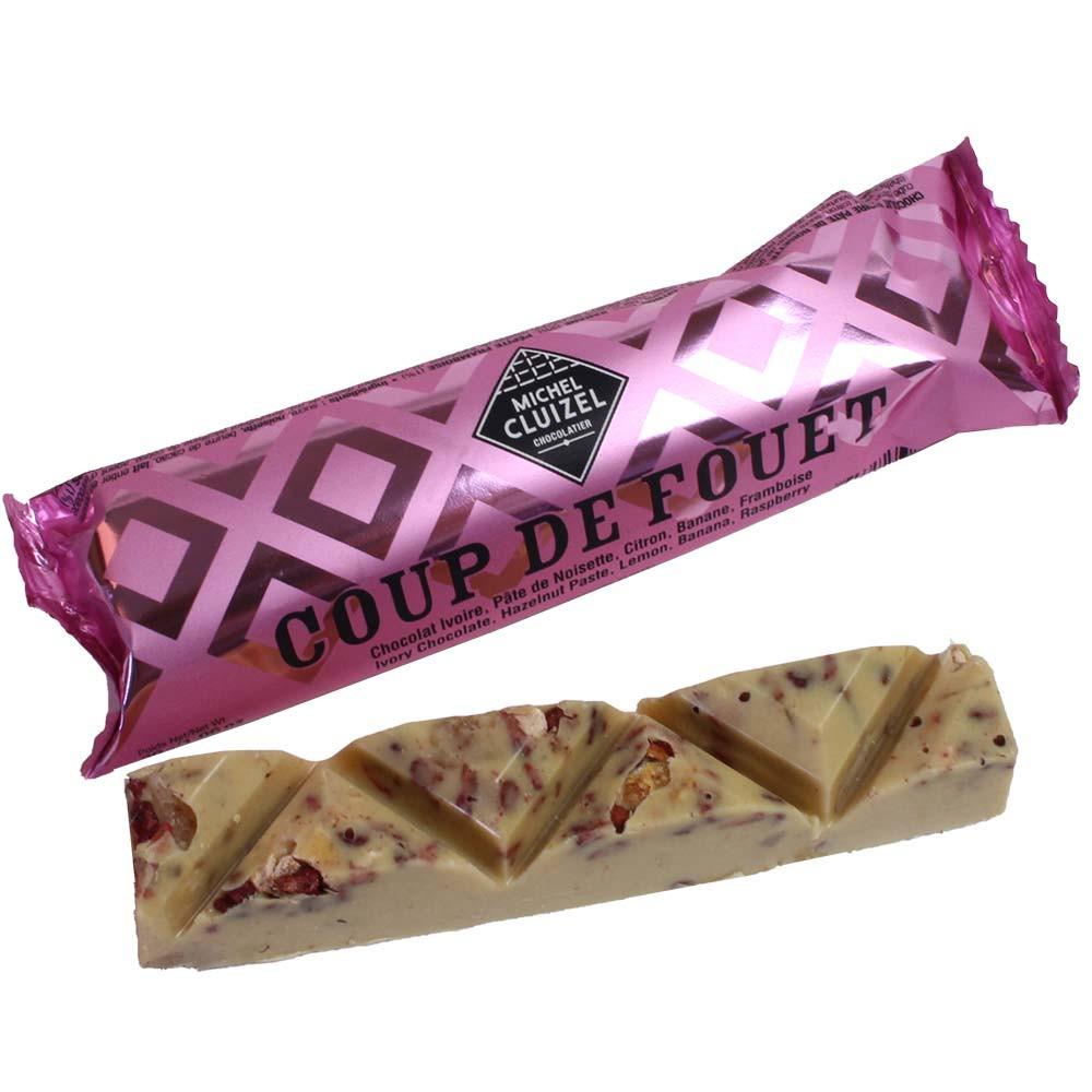 Coup de Fouet chocoladereep - witte chocolade - Repen, zonder kunstmatige smaakstoffen/additieven, Frankrijk, Franse chocolade, Chocolade met fruit - Chocolats-De-Luxe