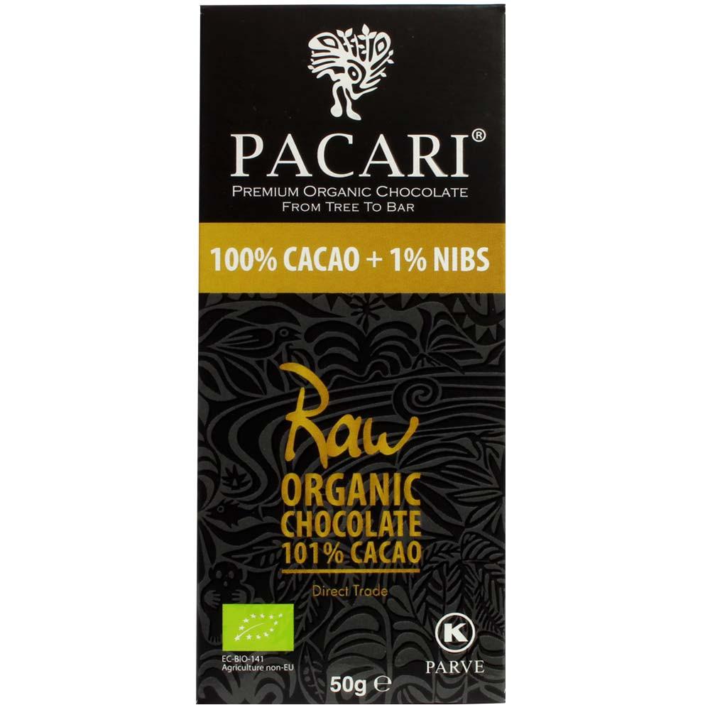 100% cacao + 1% nibs raw organic chocolate 101% cacao