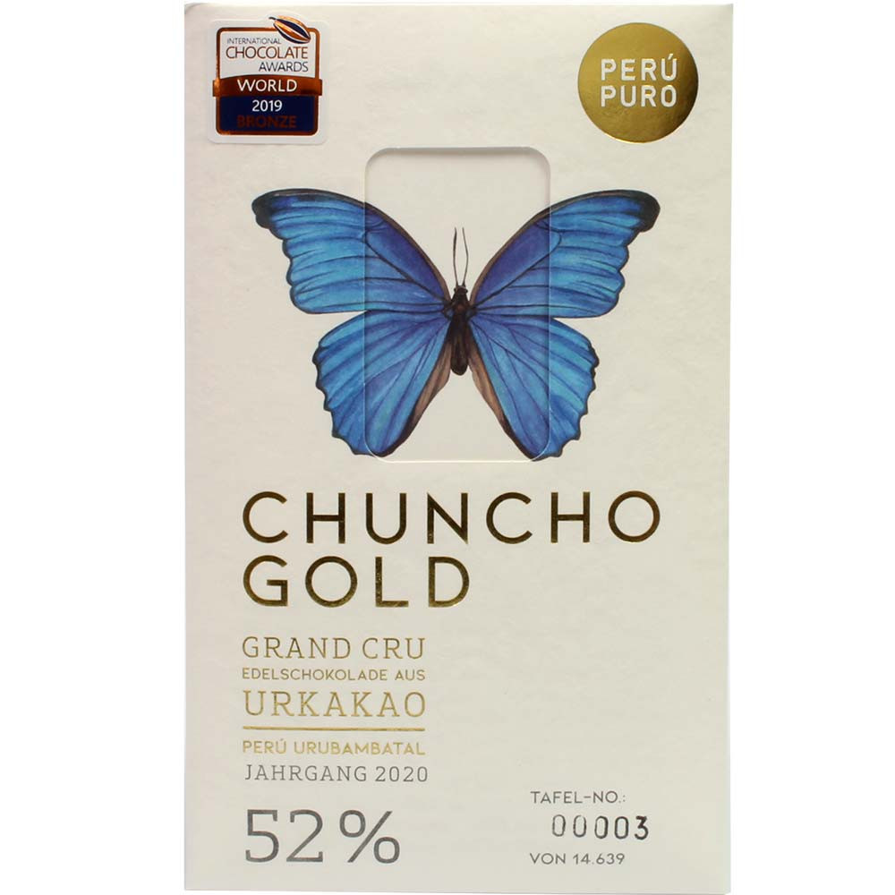 Chuncho Gold Grand Cru 52% organic milk chocolate - Bar of Chocolate, Switzerland, Swiss chocolate - Chocolats-De-Luxe