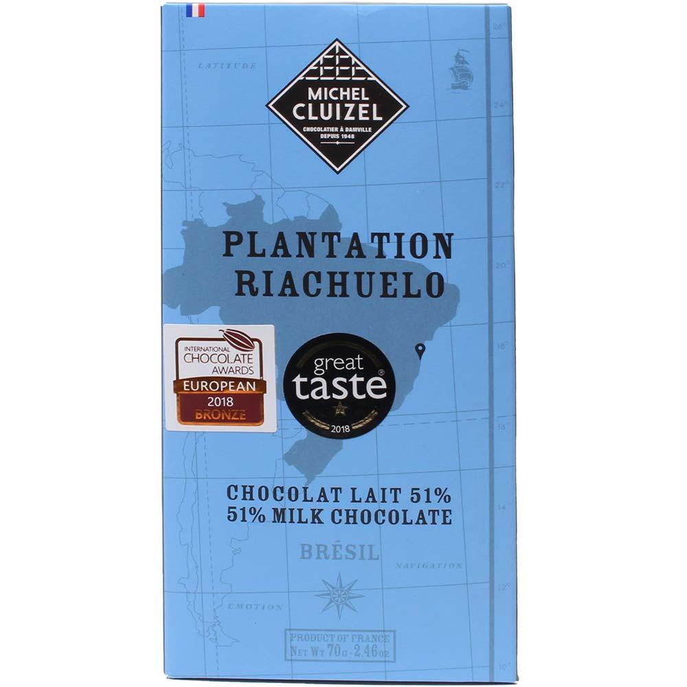 Plantation Riachuelo Brazil Milk Chocolate 51% Vollmilchschokolade - Bar of Chocolate, lecithin free chocolate, soy free chocolate, France, french chocolate - Chocolats-De-Luxe