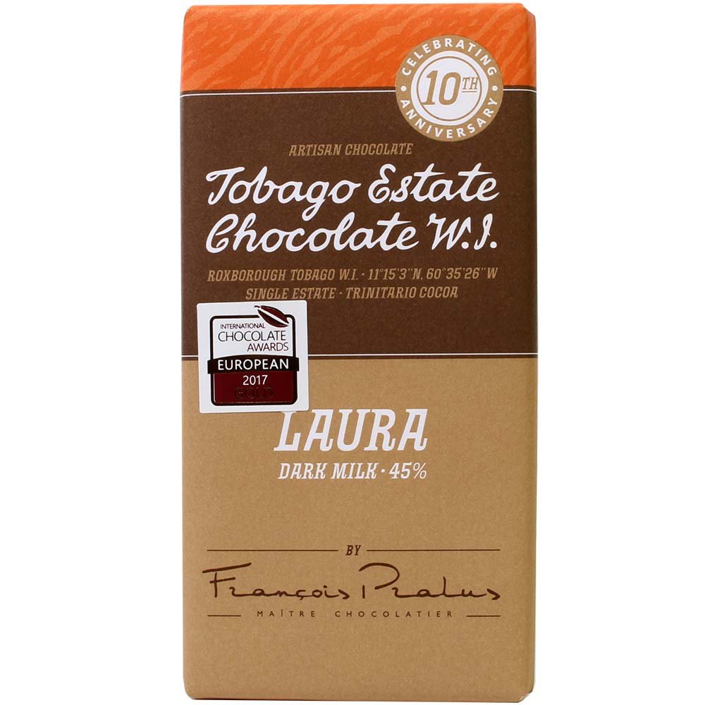 Laura 45% Dark Milk Chocolate - Bar of Chocolate, gluten free chocolate, France, french chocolate, chocolate with milk, milk chocolate - Chocolats-De-Luxe