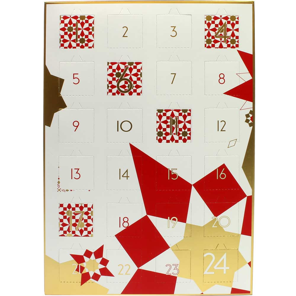 "Advent calendar ""stars"" in red and gold filled with Tartufi - Advent Calendar - Chocolats-De-Luxe"