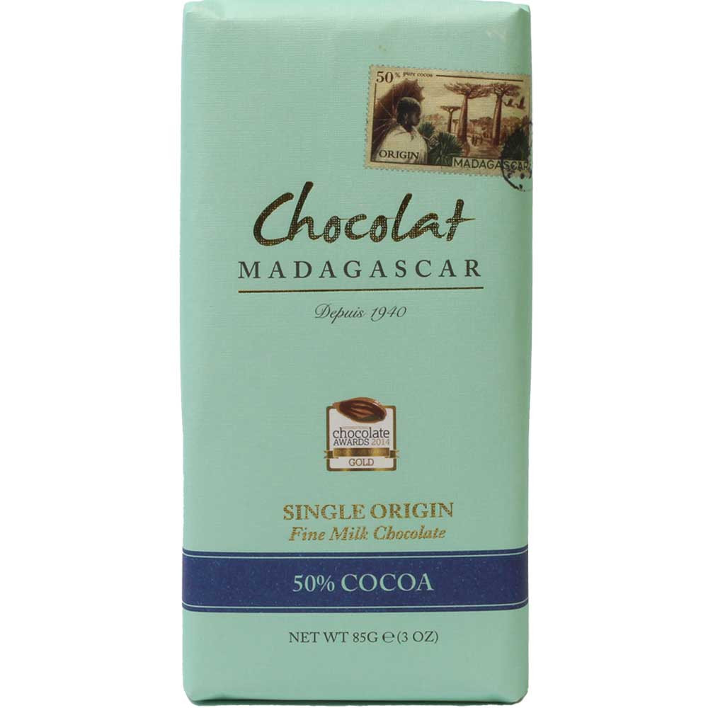 Chocolat Madagascar 50% Cocoa Origin Chocolate - Bar of Chocolate, gluten free chocolate, suitable for vegetarians, Madagascar, Madagascan chocolate, chocolate with milk, milk chocolate - Chocolats-De-Luxe