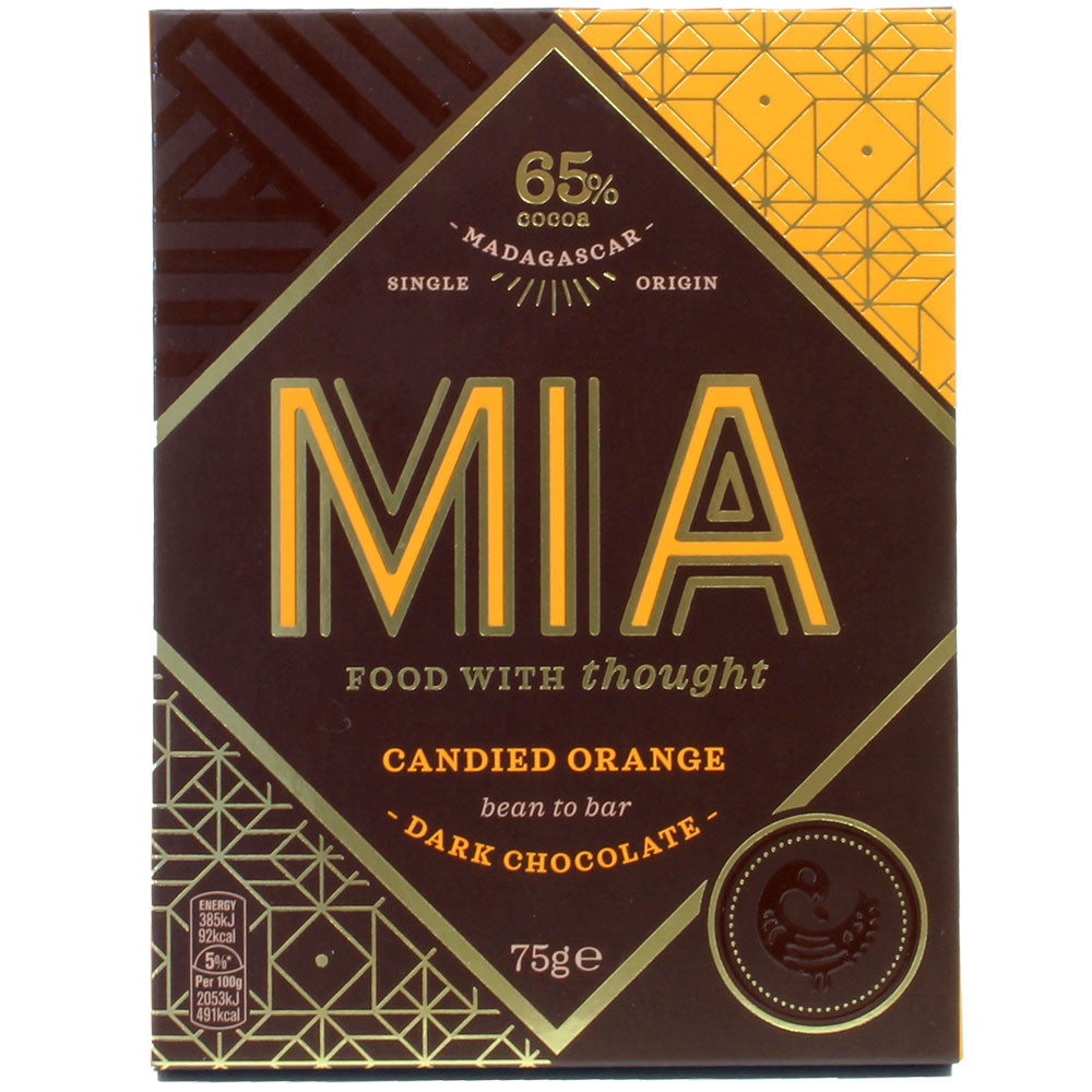 65% chocolate with candied orange pieces - Bar of Chocolate, Madagascar, Madagascan chocolate, chocolate with orange - Chocolats-De-Luxe