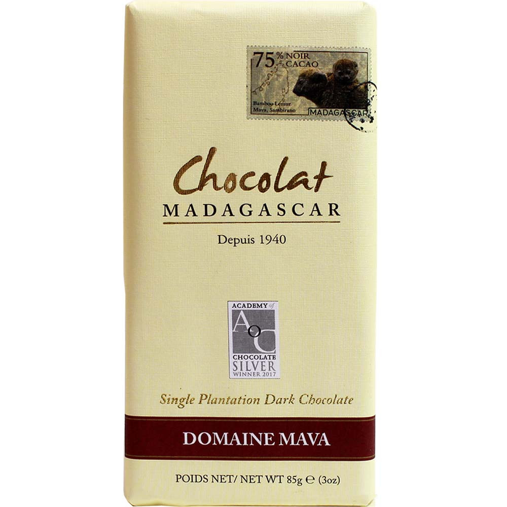 Chocolat Madagascar 75% Domaine Mava Single Plantation - Tablette de chocolat, chocolate sans huile de palme, chocolat végétalien, Madagascar, chocolat malgache - Chocolats-De-Luxe