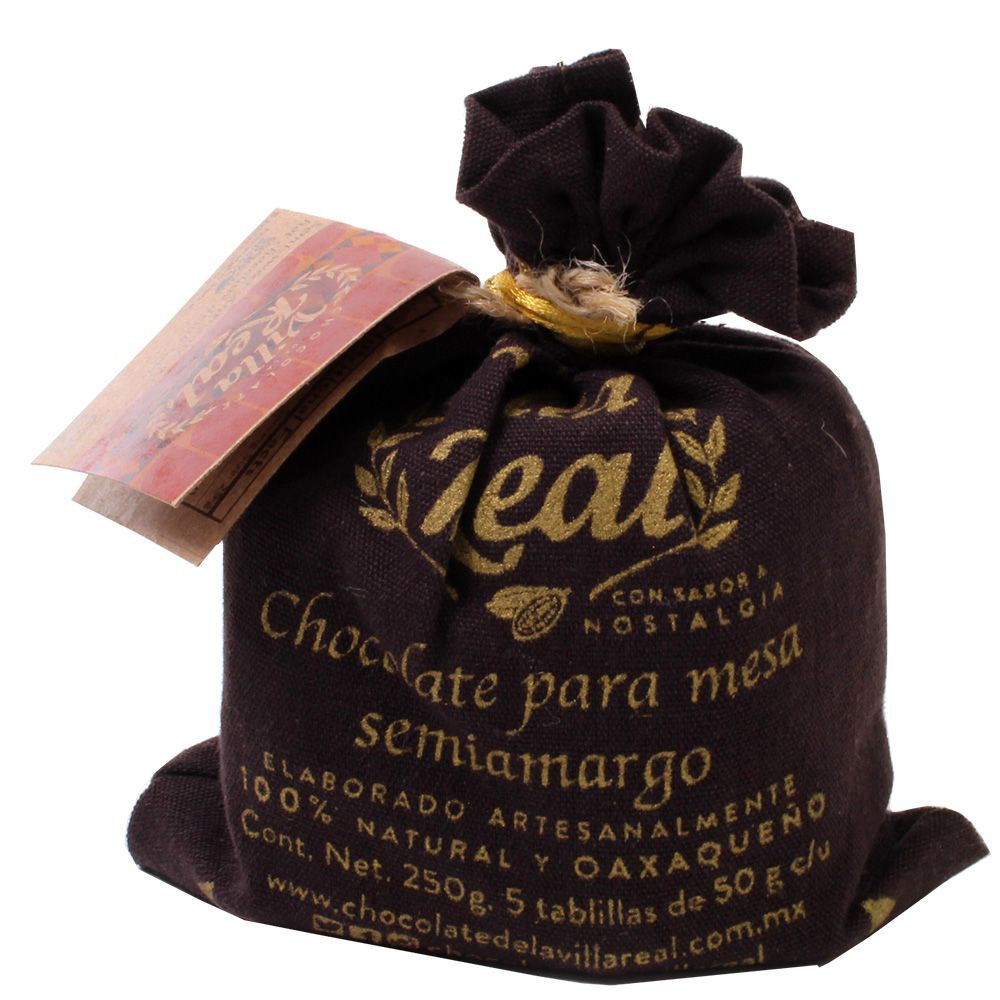 Drinking chocolate 55.8% Semi-Amargo semi-sweet in a fabric bag 250g - Hot Chocolate, gluten free chocolate, Mexico, mexican chocolate, Chocolate with almonds, almond chocolate - Chocolats-De-Luxe