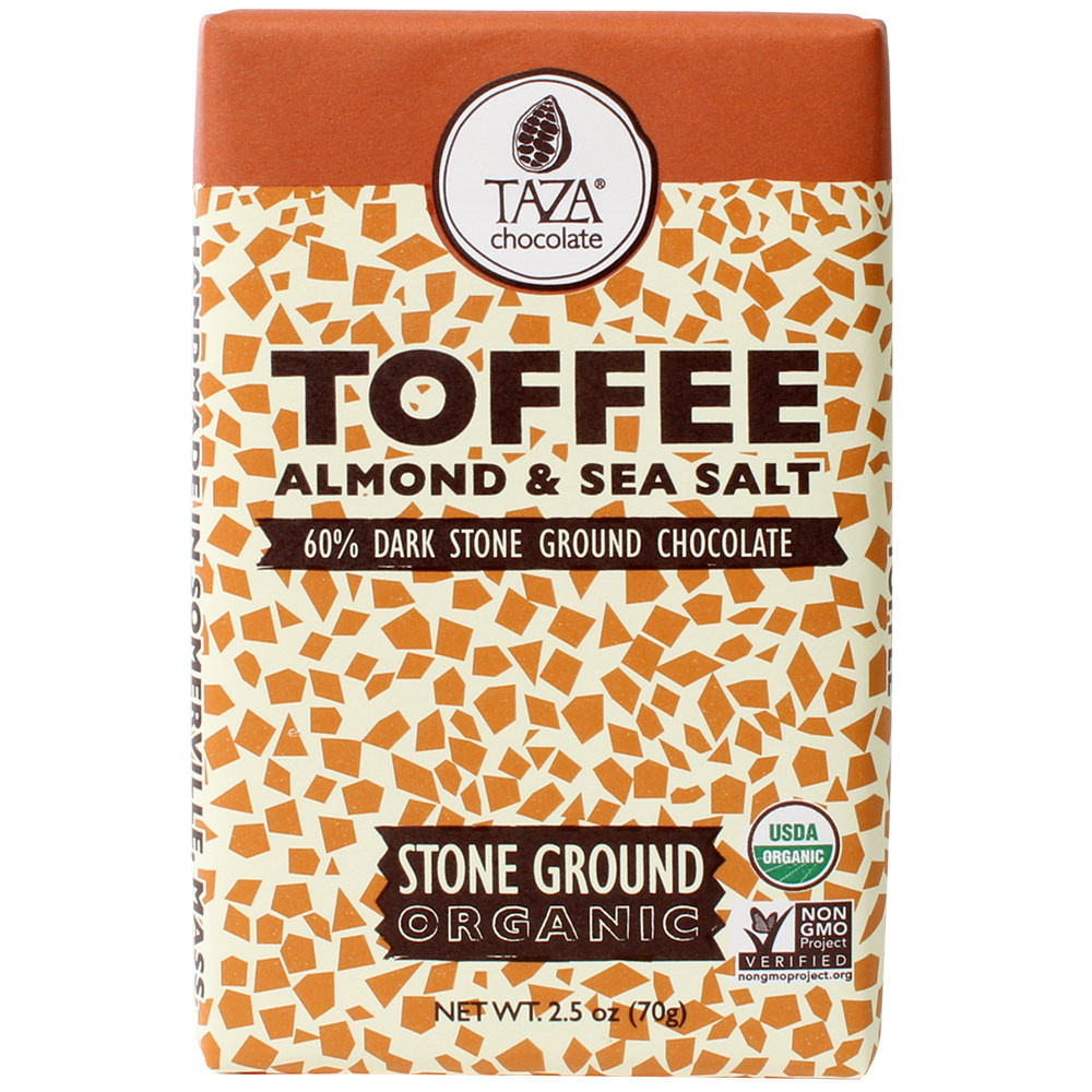 Taza, stone ground chocolate, unconchierte Schokolade, - Bar of Chocolate, gluten free chocolate, GMO free chocolate, Kosher chocolate, laktose free chocolate, Parve chocolate, Pareve chocolate, soy free chocolate, vegan chocolate, USA, american chocolate, us chocolate, Chocolate with almonds, almond chocolate - Chocolats-De-Luxe