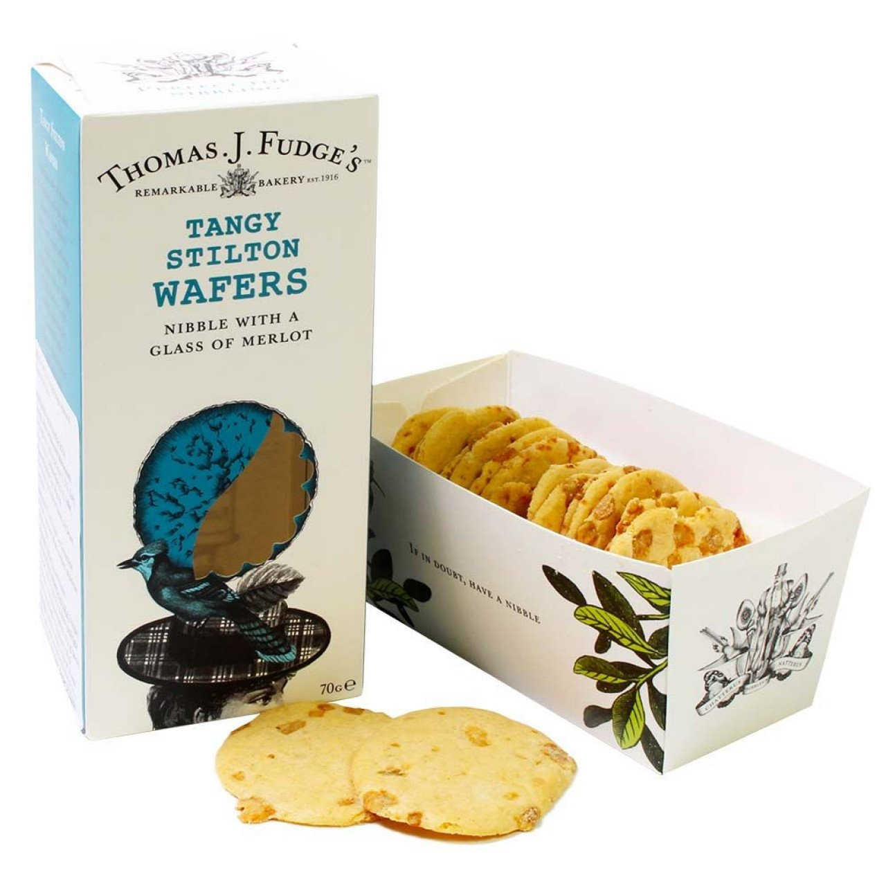 Thomas J Fudge Tangy Stilton Wafers 70 g -  - Chocolats-De-Luxe