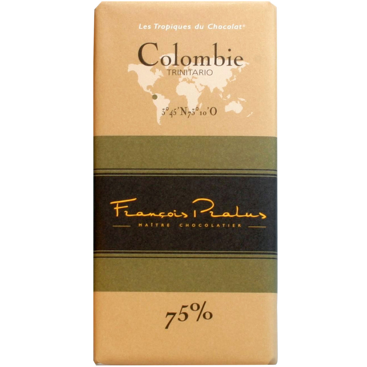 Dunkle Schokolade 75%, Kolumbien Trinitario, Colombie, chocolat noir, dark chocolate, , Bar of Chocolate , dark chocolate , - Chocolats-De-Luxe