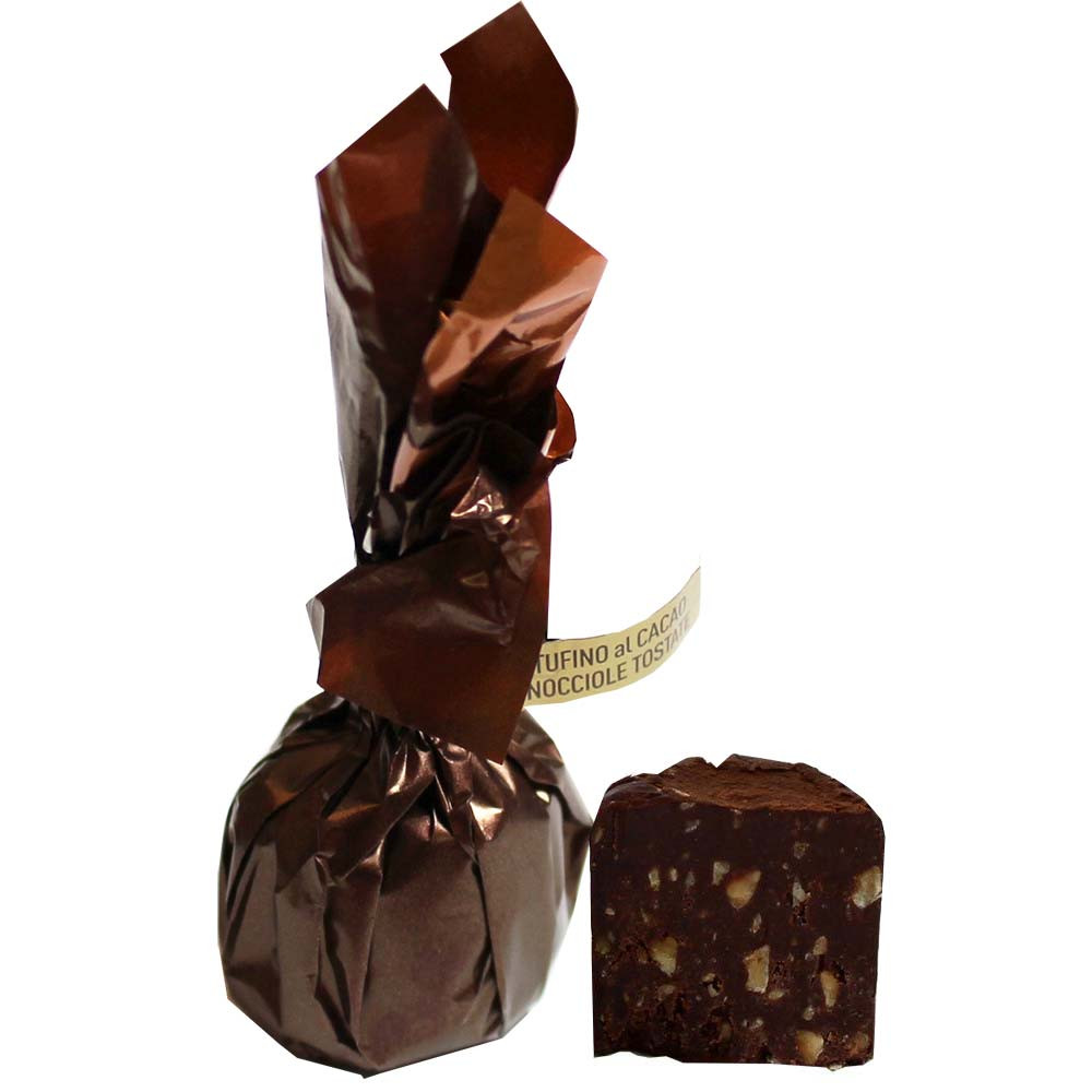 Tartufini Piemonte con pasta di nocciole e granella di nocciole - Fingerfood dolce, Cioccolato senza alcol, cioccolato senza glutine, Italia, cioccolato italiano, Cioccolato con nocciola - Chocolats-De-Luxe