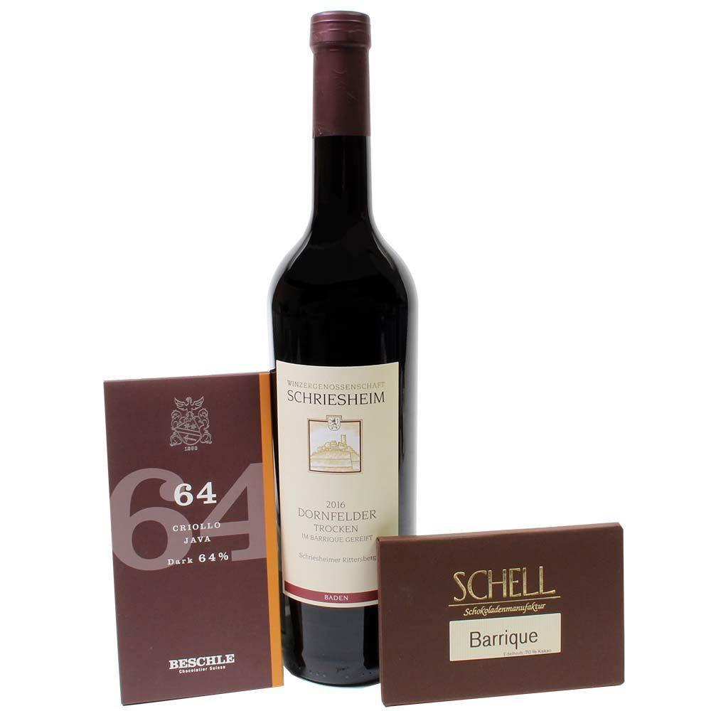 Wein und Schokolade mit Dornfelder Rotwein -  - Chocolats-De-Luxe