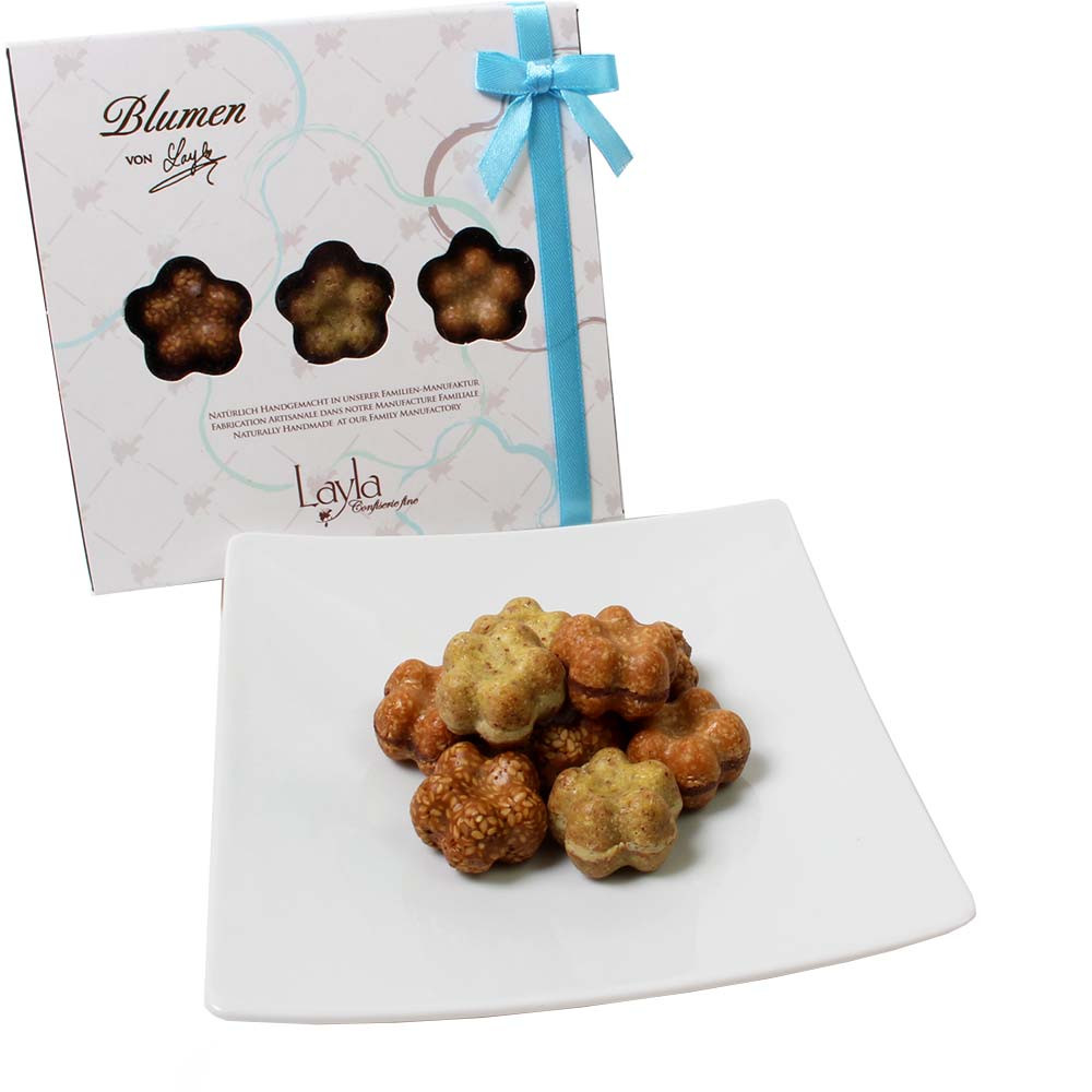Flower collection - handmade sweets with sesame, pistachio and almonds -  - Chocolats-De-Luxe