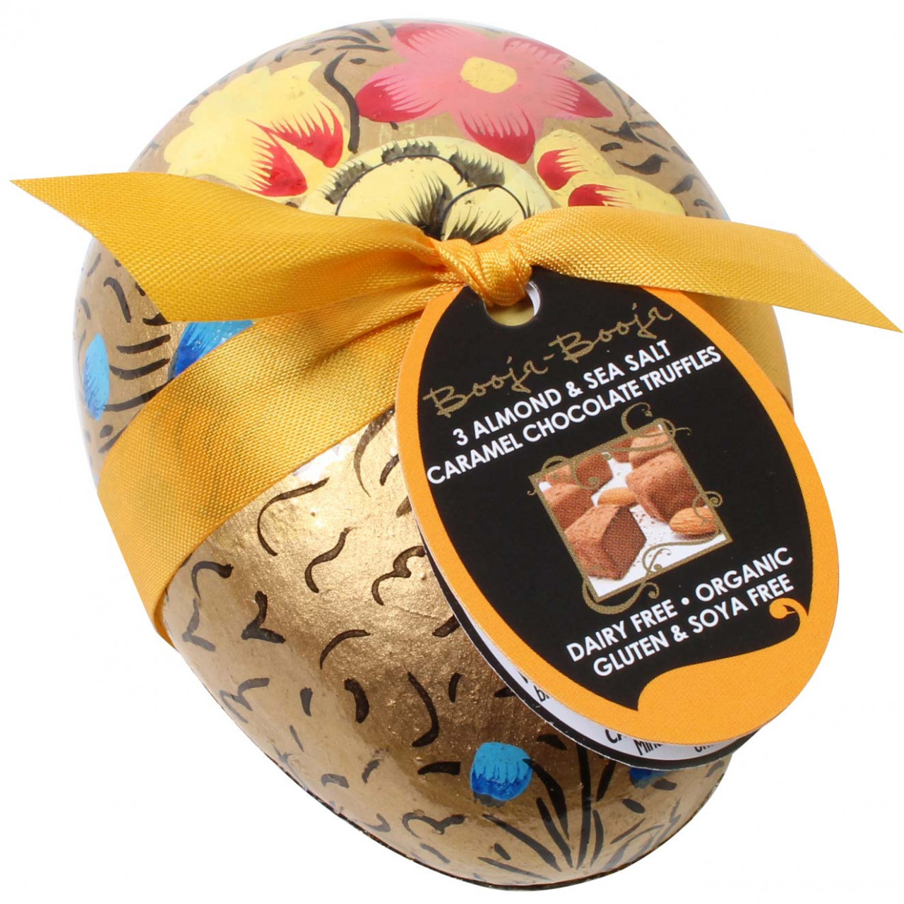 Easter egg hand-painted with almond & sea salt caramel truffles BIO