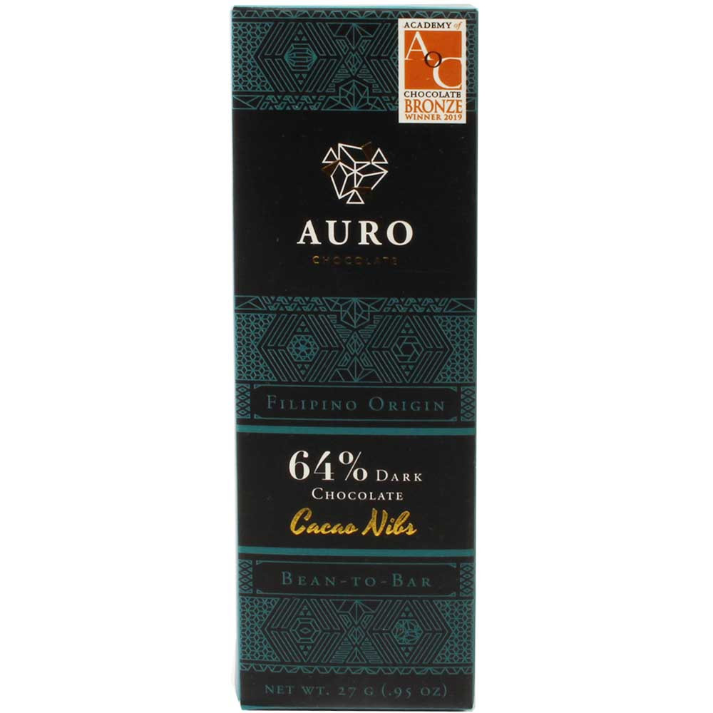 64% Dark Chocolate Cacao Nibs - chocolate oscuro con nibs de cacao - Barras de chocolate, Filipinas, Chocolate filipino, Chocolate con azúcar - Chocolats-De-Luxe