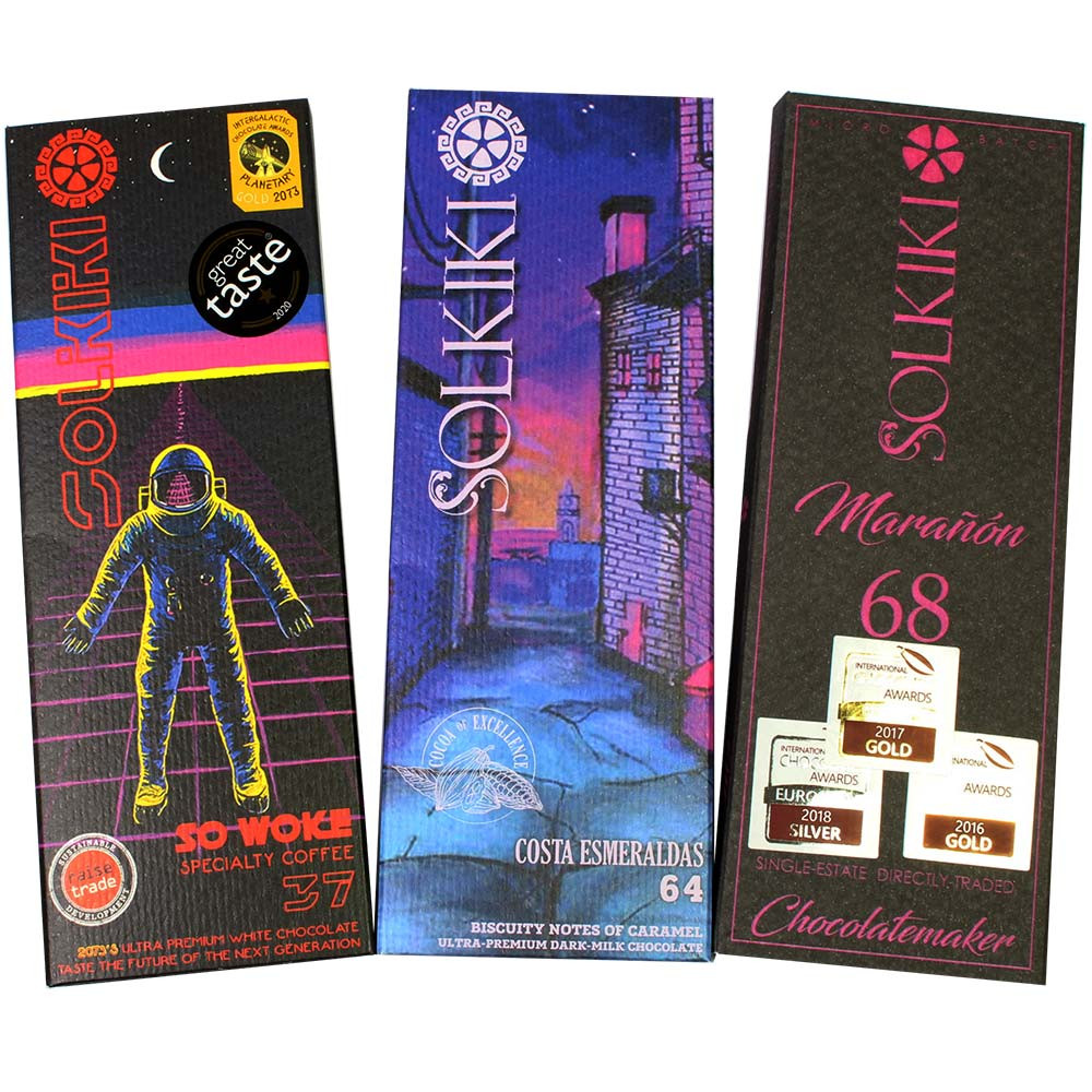 3 Schokoladen von Solkiki - Tasting Set Schoko-Festival -  - Chocolats-De-Luxe