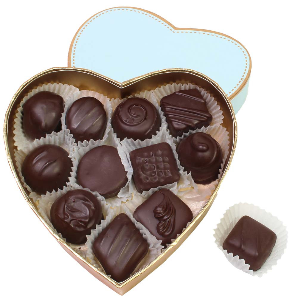 Heart box filled with dark chocolates