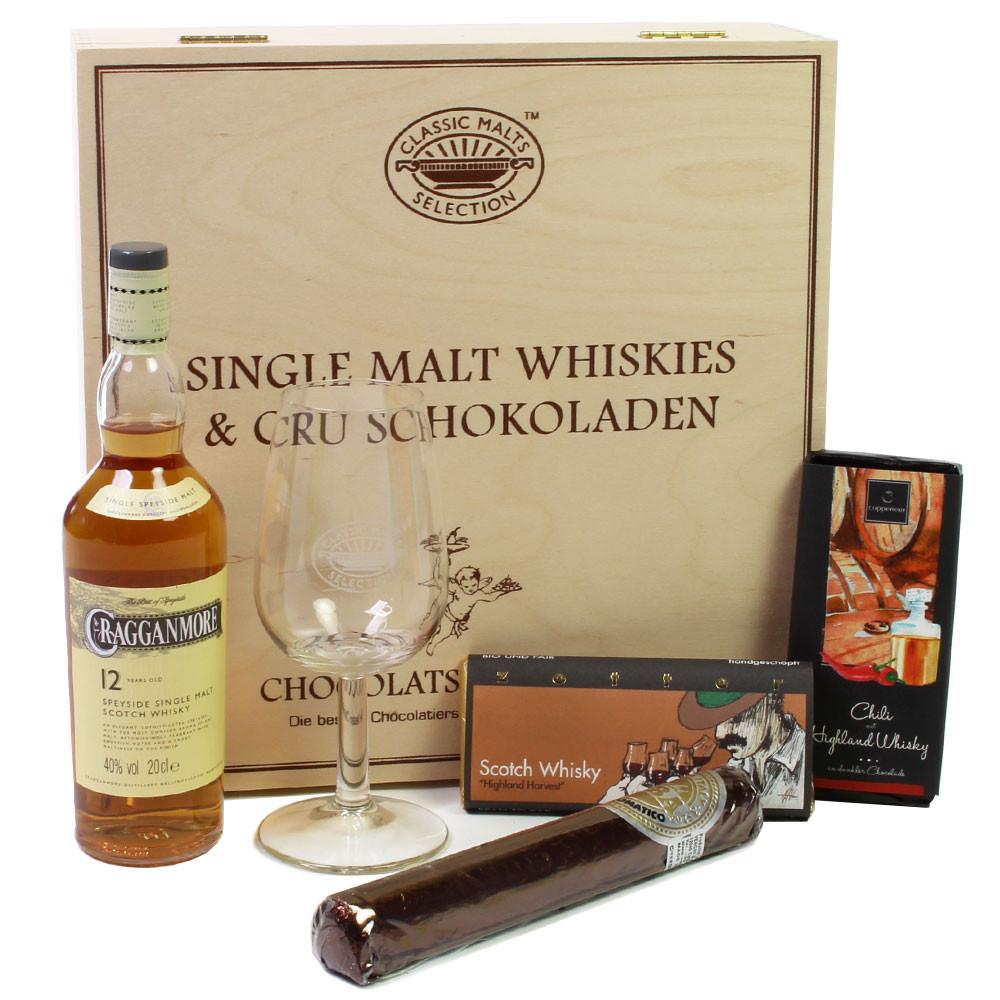 Whisky, Single Malt Whisky, Schokolade - met alcohol - Chocolats-De-Luxe