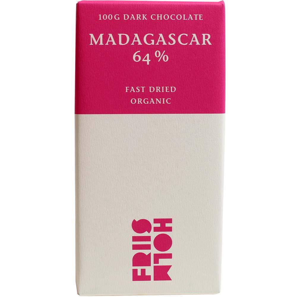 """Madagascar 64% """"Fast Dried"""" Chocolat Bio - Tablette de chocolat, chocolat sans gluten, chocolat sans lactose, chocolat sans lécithine, chocolat sans soja, végan-amicale, Danemark, chocolat danois, chocolat pur, sans ingrédients - Chocolats-De-Luxe"""
