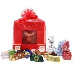 Roter Organzabeutel mit Weihnachtstafel Geschenk 36% Vollmilch