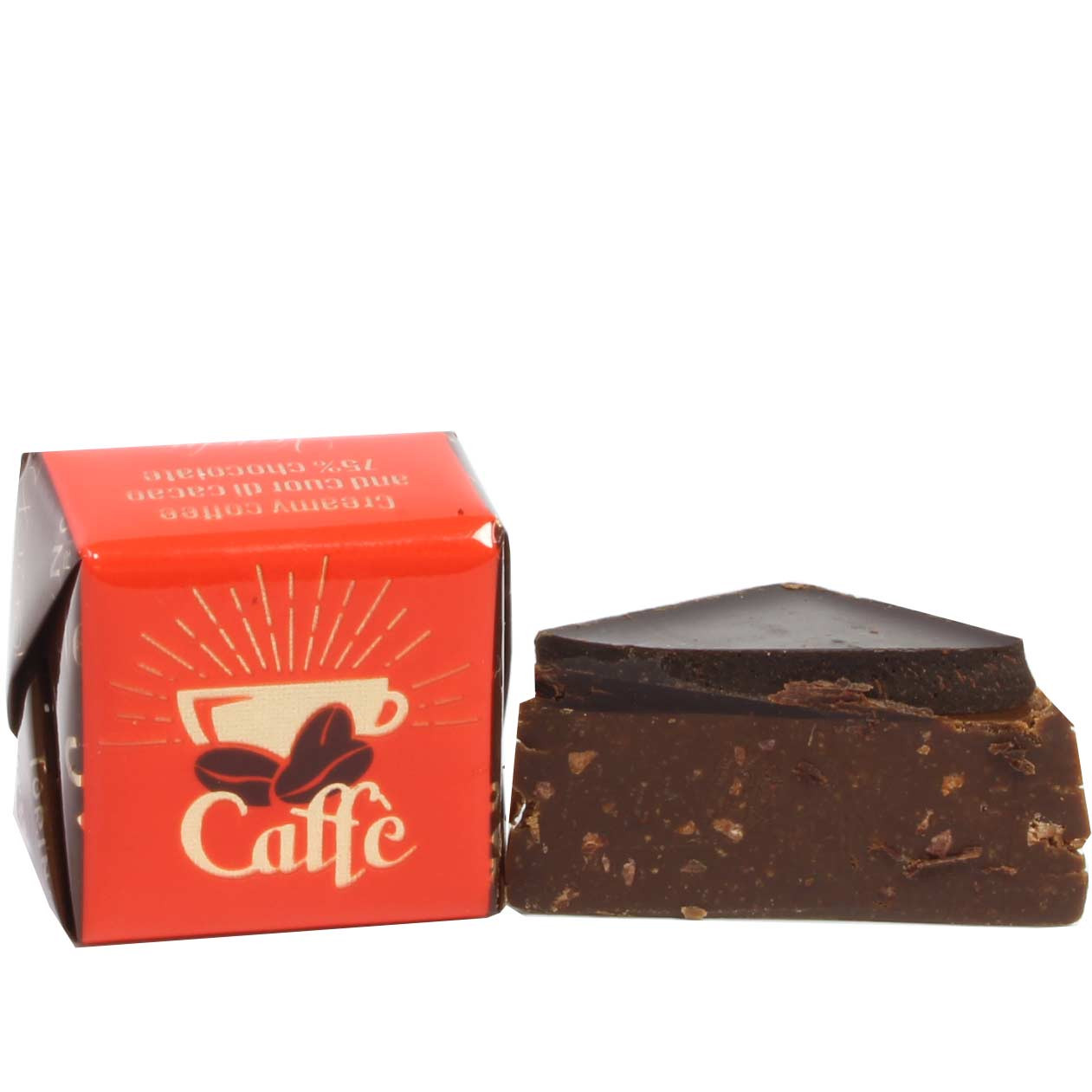 Cremoso al caffé e cuor di cacao 75% Schichtpraline mit Kaffee - SweetFingerfood, sin alcohol, sin gluten, Italia, chocolate italiano, Chocolate con café - Chocolats-De-Luxe