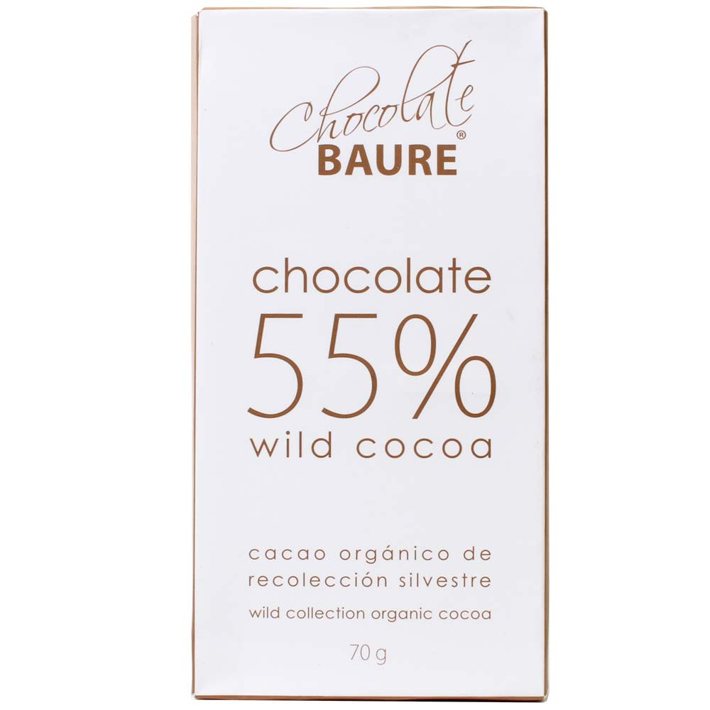 55% chocolate de cacao silvestre - Barras de chocolate, Bolivia, chocolate boliviano, Chocolate con azúcar - Chocolats-De-Luxe
