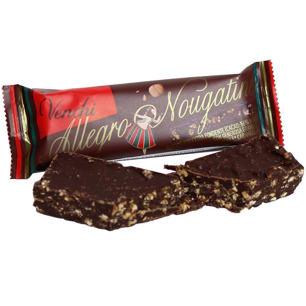 Barretta Allegro Nougatine - con nocciole caramellate - Barretta, cioccolato senza glutine, sans arômes artificiels / additifs, Italia, cioccolato italiano, Cioccolato con nocciola - Chocolats-De-Luxe