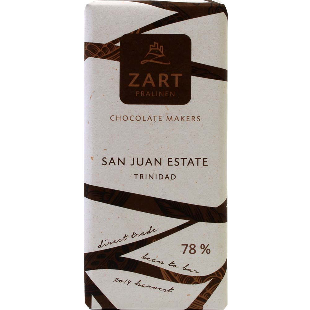 78% San Juan Estate Trinidad Schokolade - Barras de chocolate, Austria, chocolate austriaco, Chocolate con azúcar - Chocolats-De-Luxe
