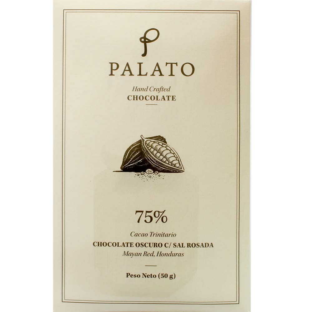 75% Chocolate Oscuro Sal Rosada - dark chocolate with pink salt - Bar of Chocolate, suitable for vegetarians, vegan-friendly, Honduras, Hondurian chocolate, Chocolate with salt - Chocolats-De-Luxe