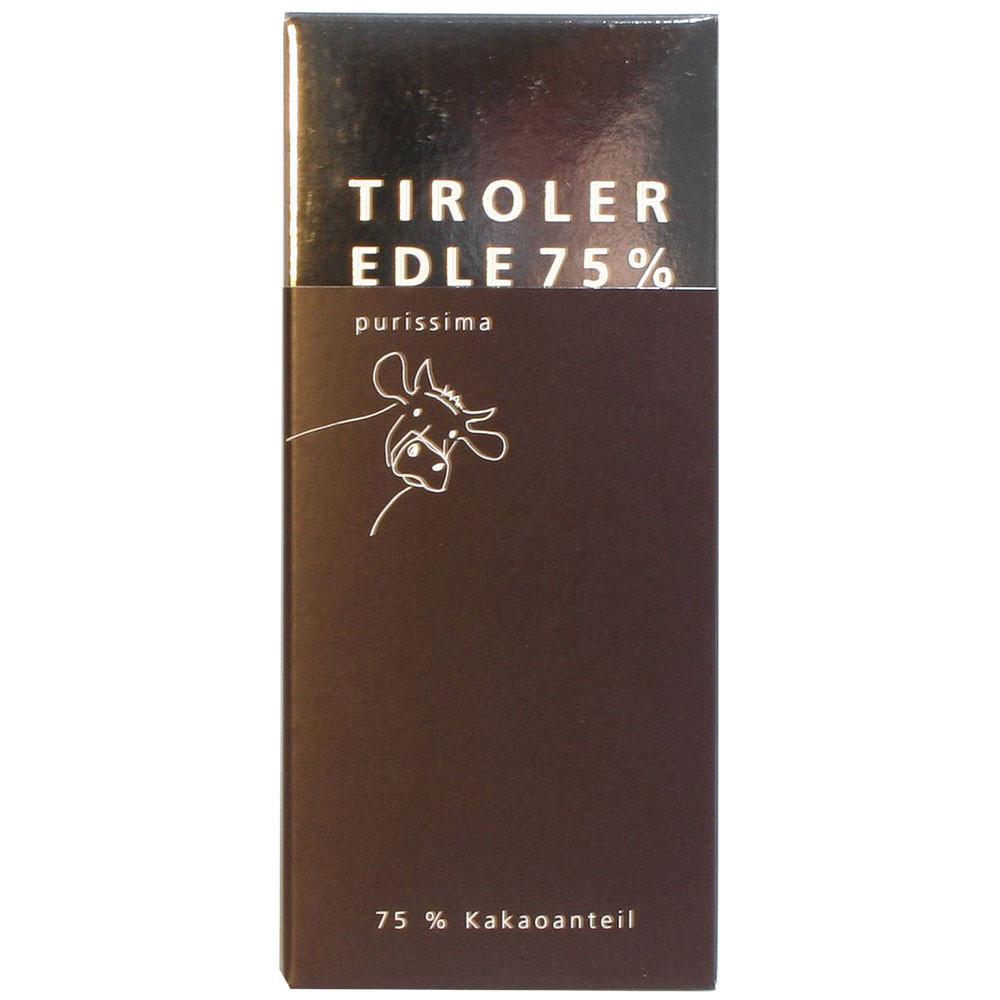 Tiroler Edle Österreich Grauvieh Domori dunkle Schokolade 75% dark chocolate chocolat noir                                                                                                               - Bar of Chocolate, Austria, austrian chocolate, chocolate with milk, milk chocolate - Chocolats-De-Luxe