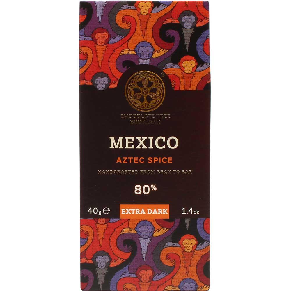 Mexico Aztec Spice 80% cioccolato biologico - Tavola di cioccolato, cioccolato vegano, sans arômes artificiels / additifs, Scozia, Cioccolato scozzese, Cioccolato con spezie - Chocolats-De-Luxe