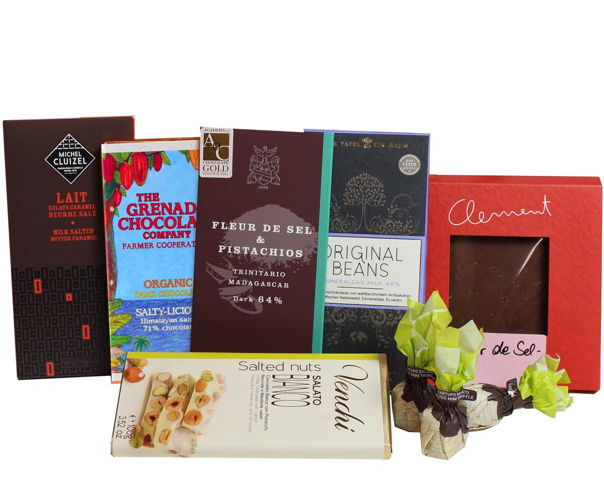Schokoladengeschenk, Schokolade mit Salz, Zartbitterschokolade, Milchschokolade mit fleur de sel, milk chocolate, chocolat noir, chocolat au lait