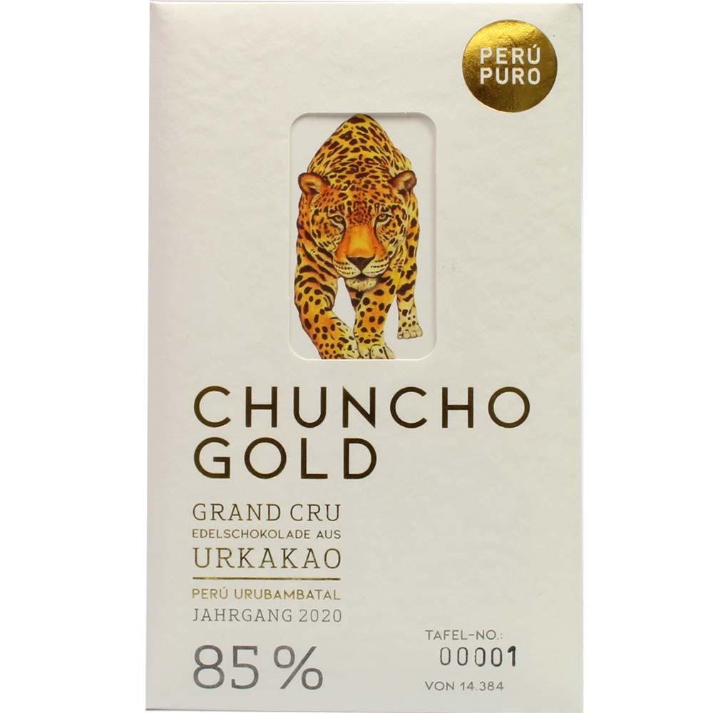 Chuncho Gold Grand Cru 85% cioccolato fondente biologico - Tavola di cioccolato, Svizzera, Cioccolato svizzero, cioccolato puro senza ingredienti - Chocolats-De-Luxe