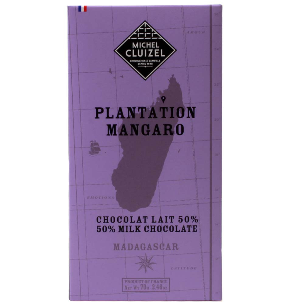 Vollmilch Chocolate Chocolate 50% Plantation Mangaro Madagascar Chocolate Lait - Bar of Chocolate, lecithin free chocolate, France, french chocolate, chocolate with vanilla, vanilla chocolate - Chocolats-De-Luxe