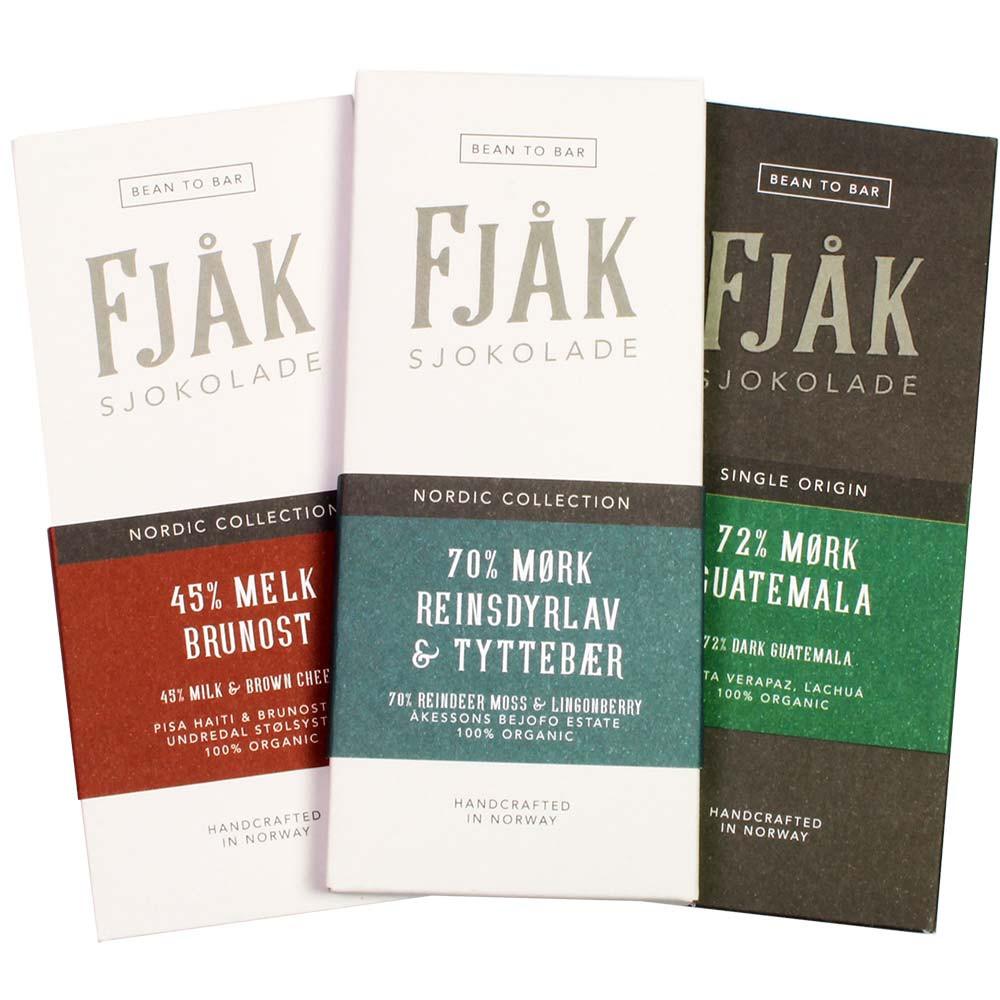 Fjak Schoko-Festival Tasting Set mit 3 Schokoladen -  - Chocolats-De-Luxe
