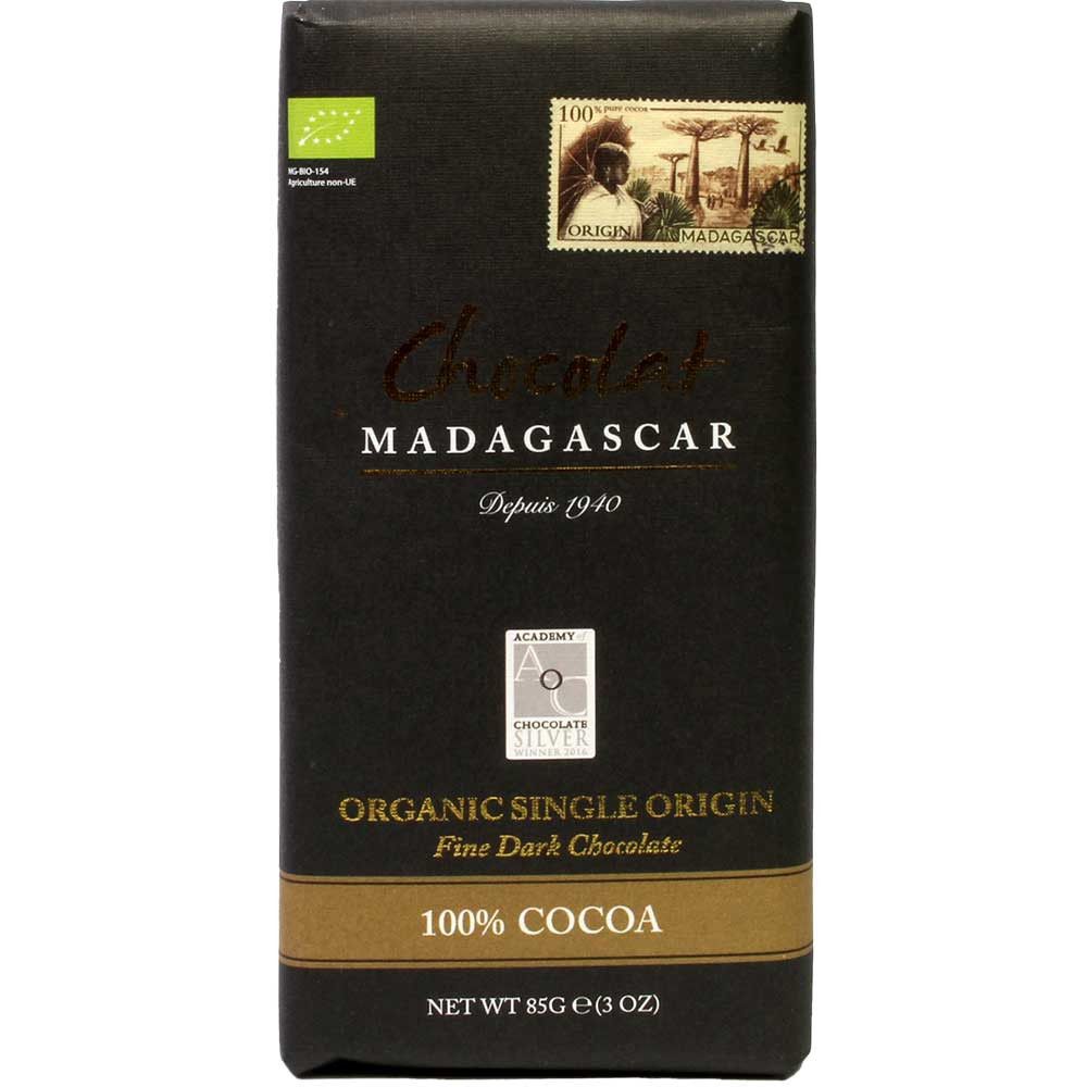 Organic 100% Cocoa dark chocolate from Madagascar - Bar of Chocolate, gluten free chocolate, laktose free chocolate, palm oil free chocolate, sugar free chocolate, vegan chocolate, Madagascar, Madagascan chocolate, plain pure chocolate without ingredients - Chocolats-De-Luxe