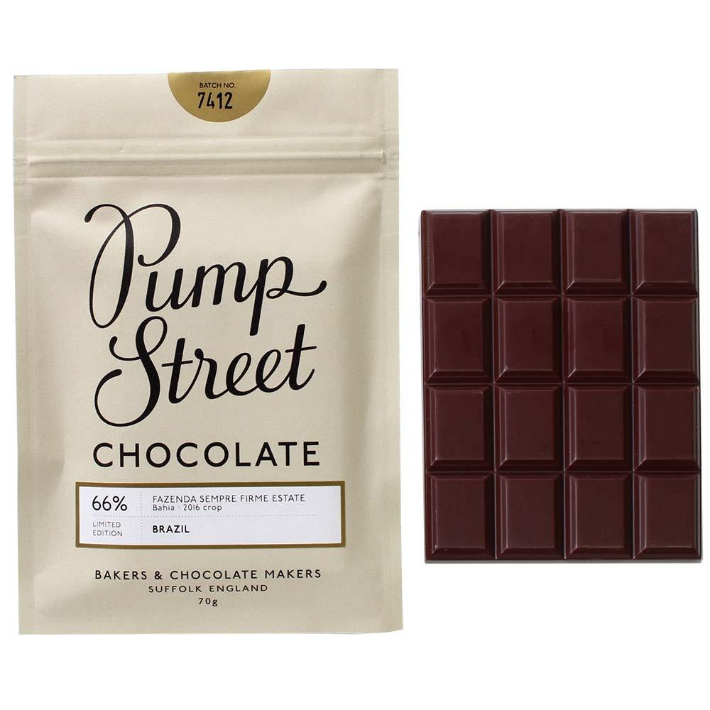 Pump Street Chocolate, Pump Street Bakery, Fazendra Sempre Firme Estate, 66 % Zartbitterschokolade - Barras de chocolate, Inglaterra, chocolate inglés, Chocolate con azúcar - Chocolats-De-Luxe