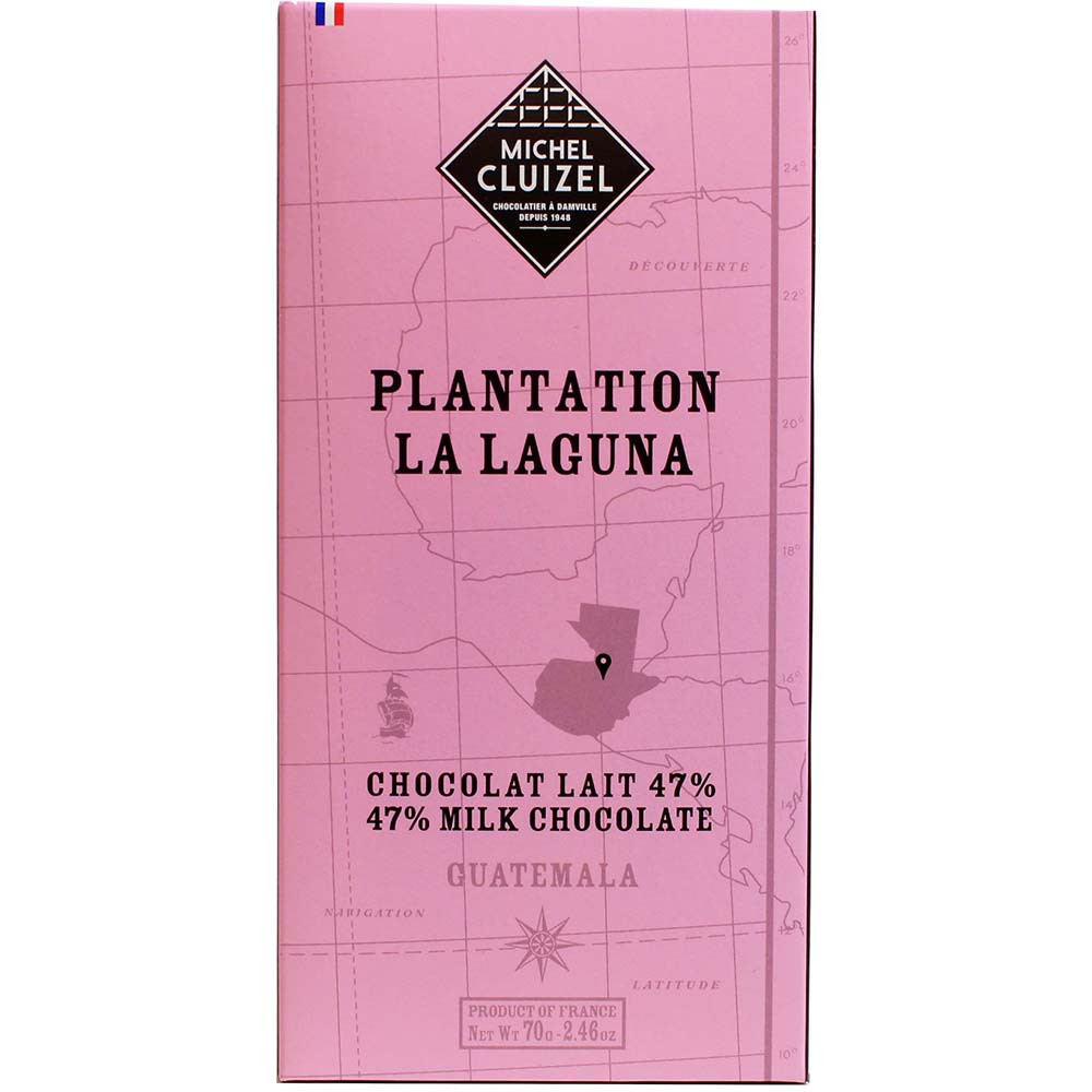 Michel Cluizel, Plantation La Laguna Guatemala Chocolat Lait 47% Vollmilchschokolade - Bar of Chocolate, France, french chocolate, chocolate with milk, milk chocolate - Chocolats-De-Luxe