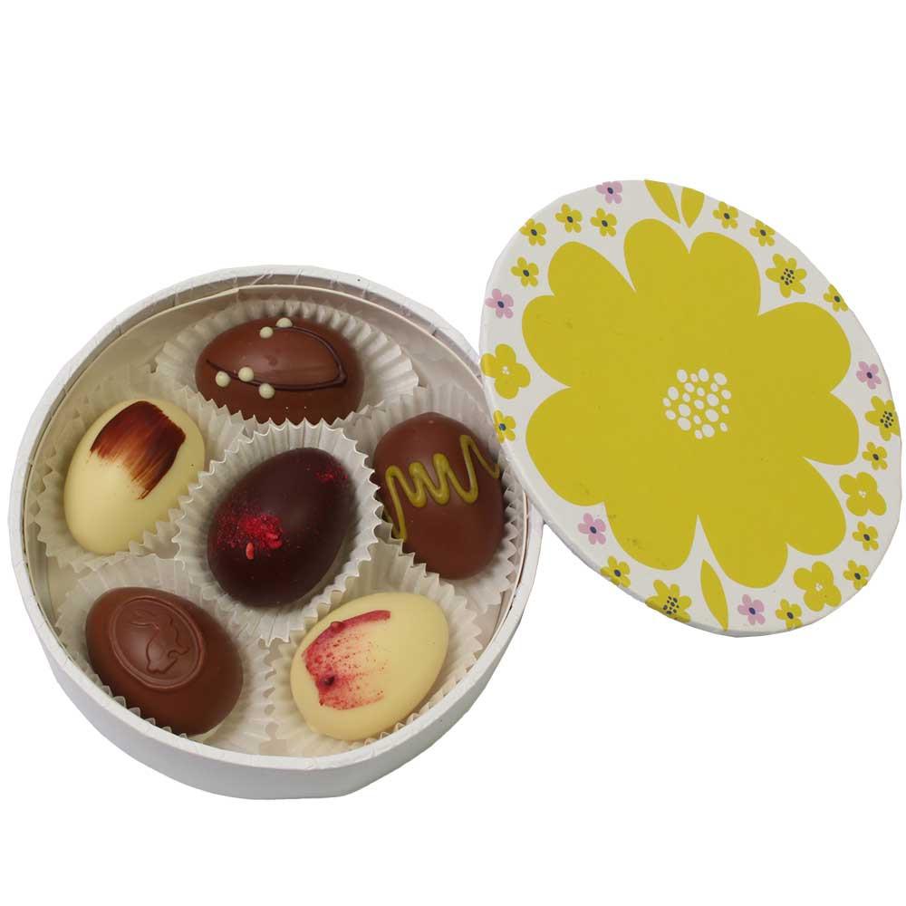 6 Schokoladen Ostereier in der Blumendose - Osterversteck - Pralines, Autriche, chocolat autrichien - Chocolats-De-Luxe