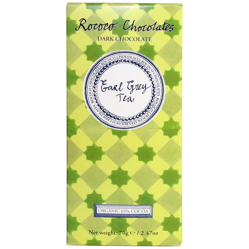 Bioschokolade, London, England, Rococo, Ear Grey Tee, Bio, organic, dark chocolate, chocolat noir                                                                                                        - Barras de chocolate, Gran Bretaña, chocolate británico, Chocolate con té - Chocolats-De-Luxe