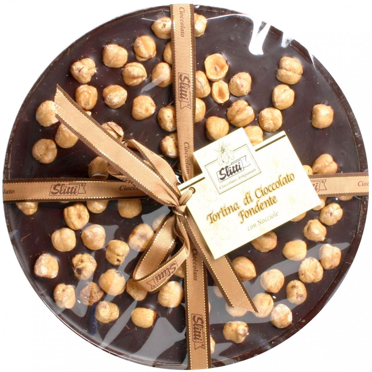 Runde Tafelschokolade, 60%, im XL Format, mit ganzen Haselnüssen, aus dem Piemont, Slitti, Italienische Schokolade