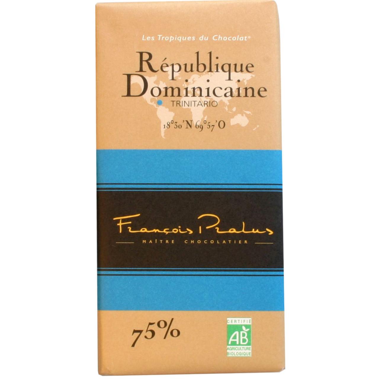 dunkle Schokolade, 75%, Domenikanische Republik, Trinitario, dark chocolate, chocolat noir, Herkunftsschokolade, Single Origin, Bean to Bar Schokolade