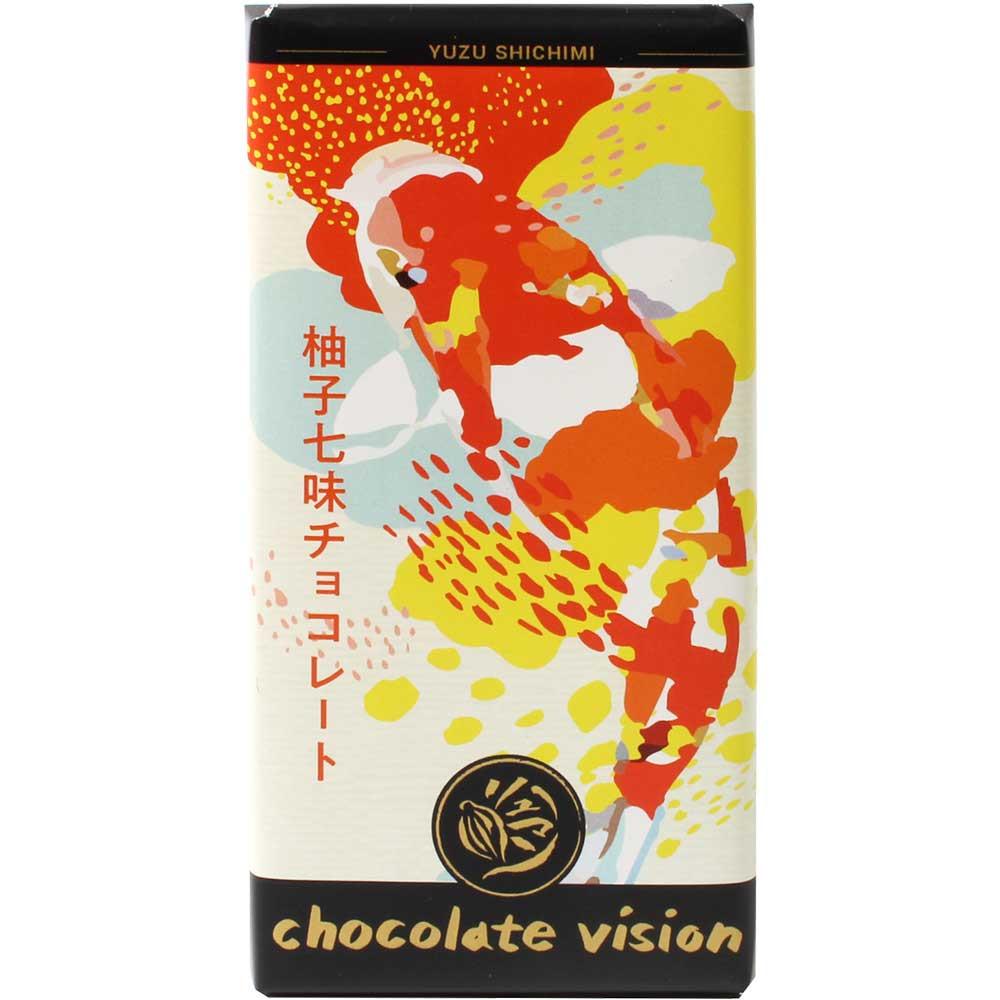 Yuzu-Shichimi Zartbitterschokolade mit Gewürzen - Barras de chocolate, chocolate sin lecitina, Alemania, chocolate alemán, Chocolate con especias - Chocolats-De-Luxe