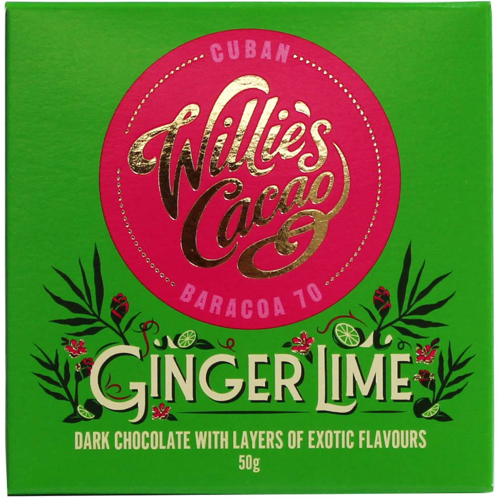 Ginger Lime - Cuban Baracoa 70% dark chocolate - Bar of Chocolate, lecithin free chocolate, vegan chocolate, England, english chocolate, Chocolate with ginger - Chocolats-De-Luxe