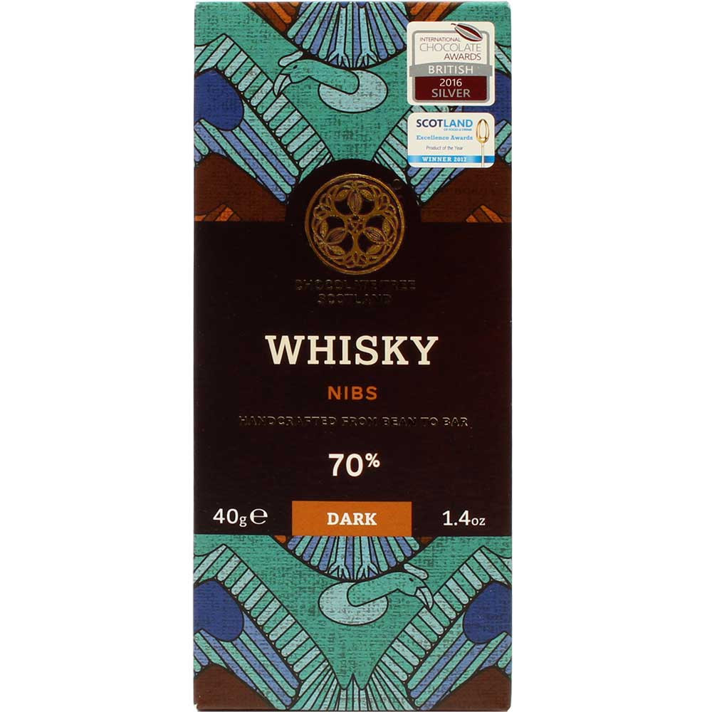 Whisky Nibs - 70% chocolate negro orgánico - Barras de chocolate, Escocia, chocolate escocés, Chocolate con cacao /-nibs - Chocolats-De-Luxe