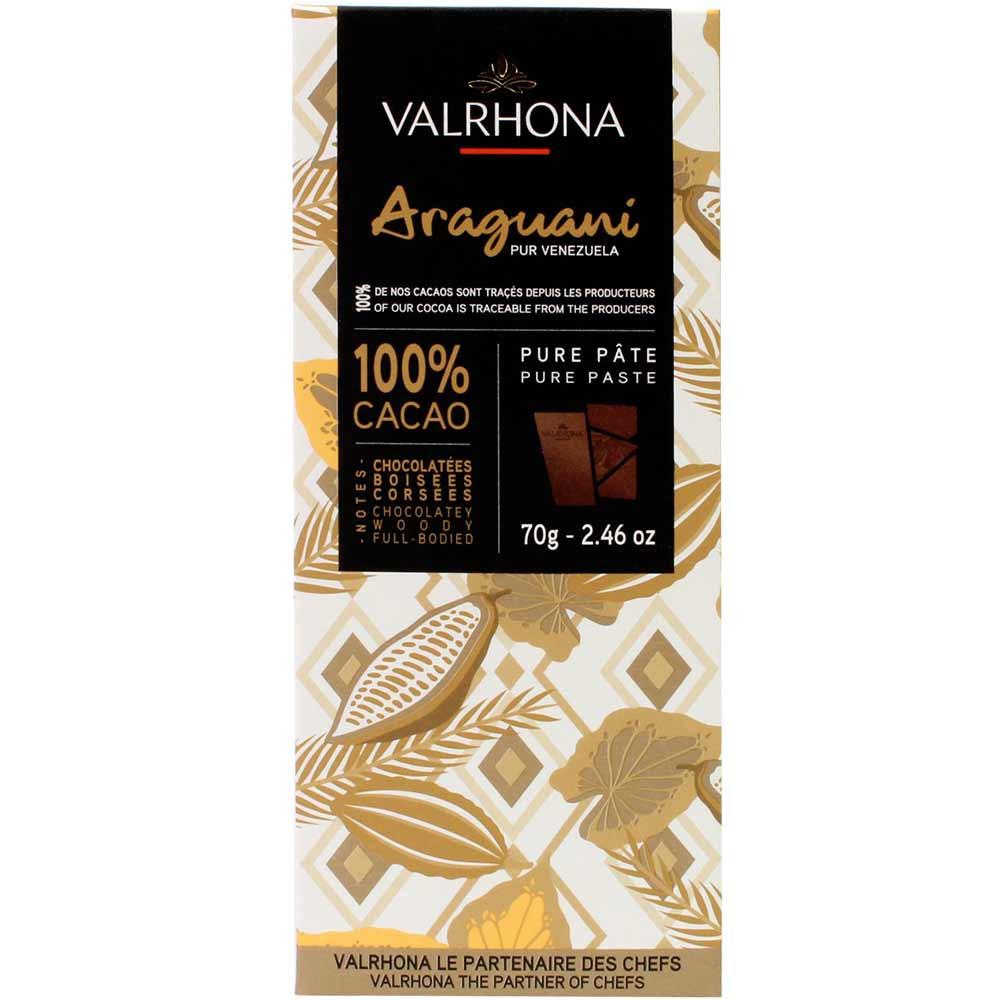 100% Araguani Venezuela - masa de cacao puro - Barras de chocolate, chocolate vegano, sin azúcar, sin azúcares añadidos, Francia, chocolate francés - Chocolats-De-Luxe