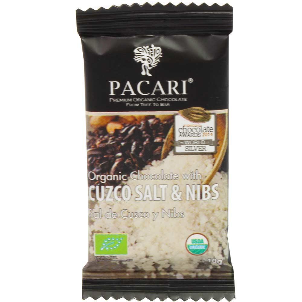 "chocolate 60% ""Cuzco Salt & Nibs"" Minibar de 10g - SweetFingerfood, Chocolate Kosher, chocolate sin gluten, chocolate vegano, Ecuador, chocolate ecuatoriano, Chocolate con cacao /-nibs - Chocolats-De-Luxe"