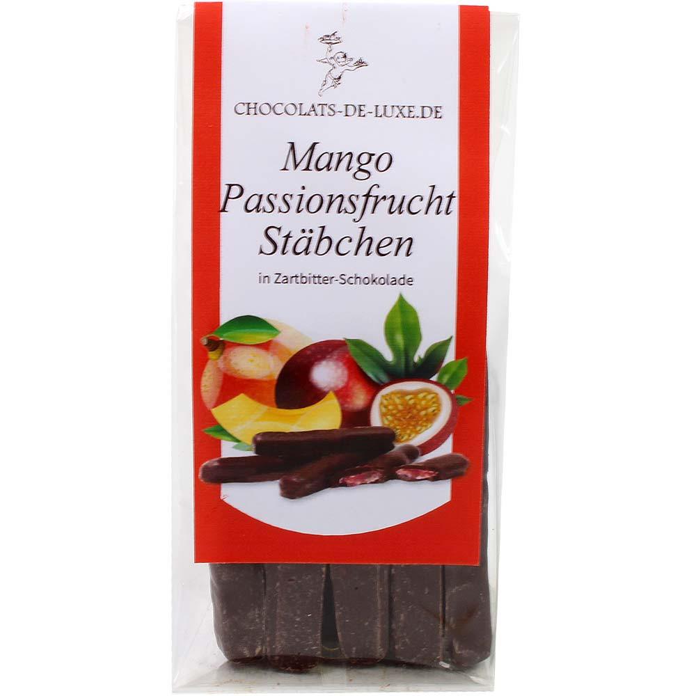 Mango passievrucht sticks in 70% pure chocolade