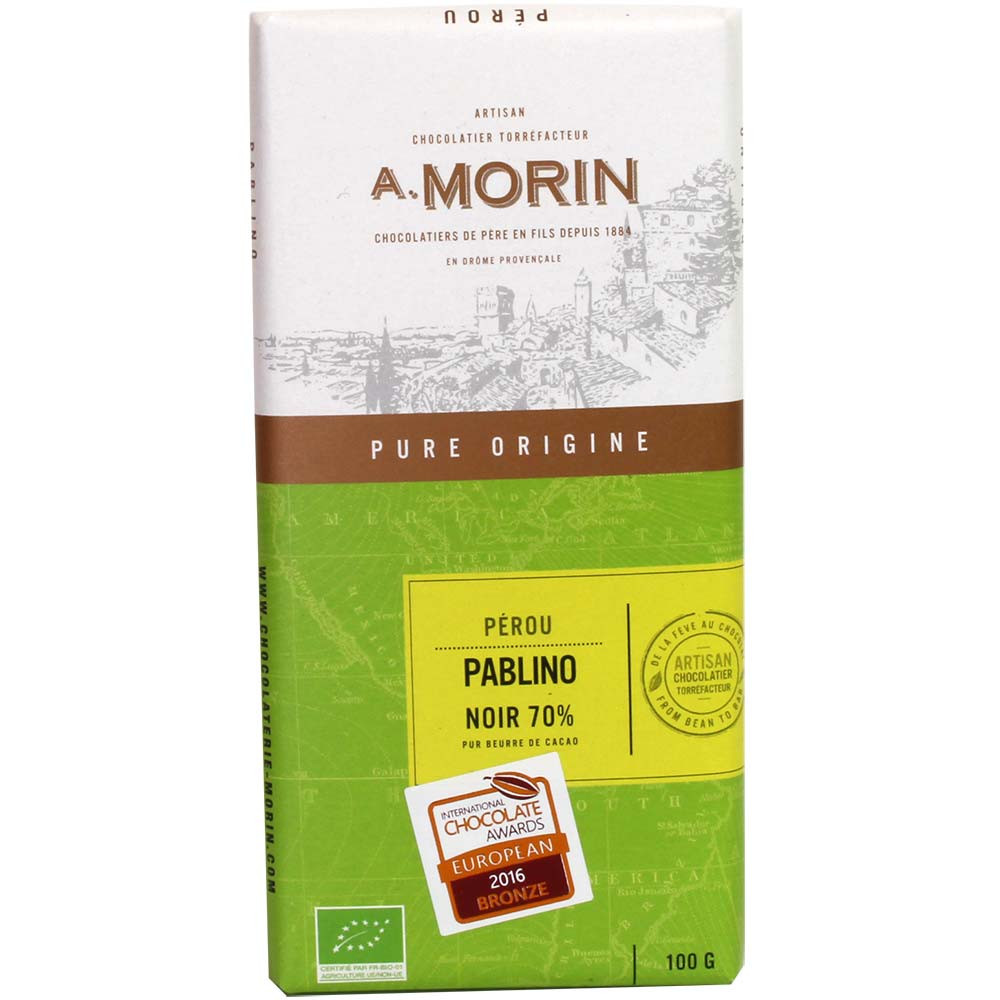 Chocolat Pablino Nor 70% BIO du Pérou - Tablette de chocolat, France, chocolat français - Chocolats-De-Luxe