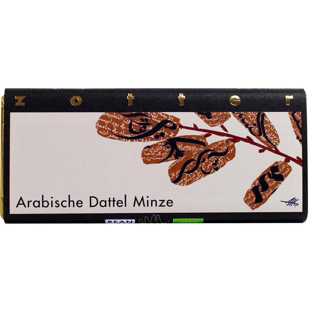 Arabic date with mint organic dark milk chocolate - Bar of Chocolate, Austria, austrian chocolate, Chocolate with fruits - Chocolats-De-Luxe