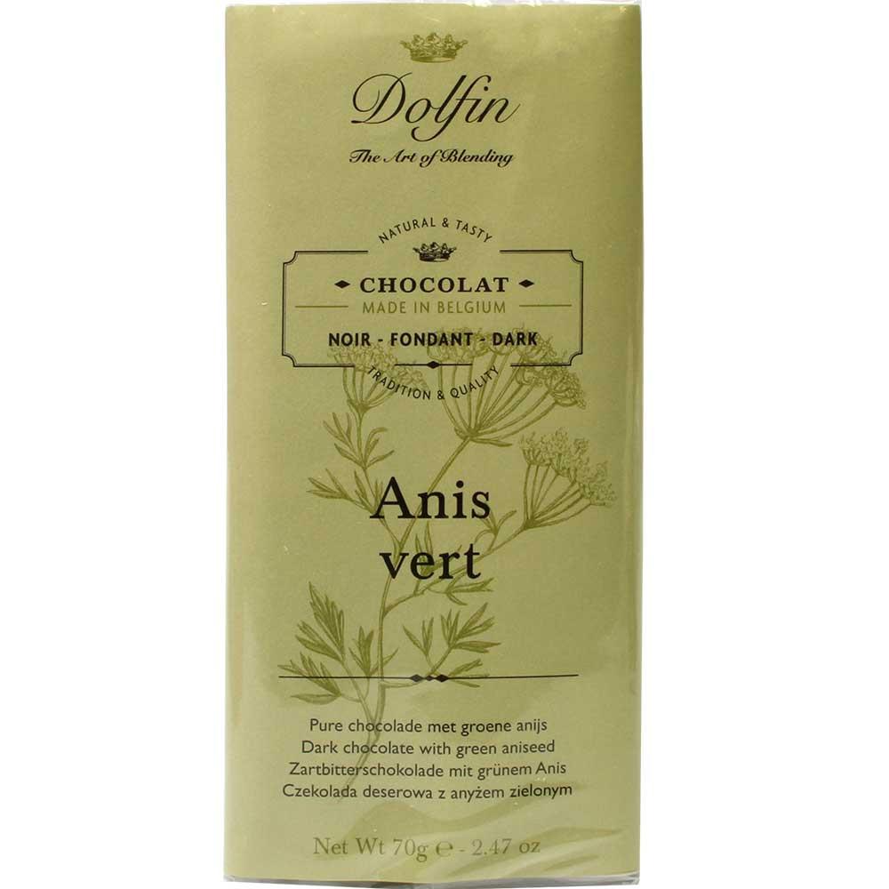 Anis Vert - Zartbitterschokolade mit grünem Anis - Tafelschokolade, glutenfrei, laktosefrei, vegan-freundlich, Belgien, belgische Schokolade, Schokolade mit Anis - Chocolats-De-Luxe